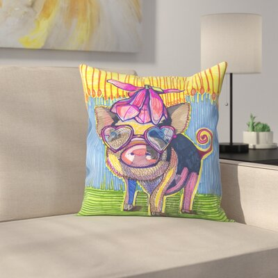 Pig with Magnolia Flower Throw Pillow Size: 14