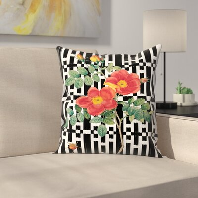 Rose Black & White Throw Pillow Size: 16 x 16