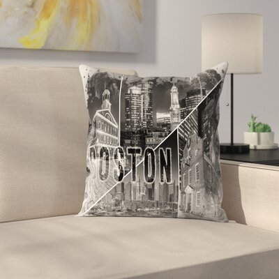 Boston Urban Collage No 1 Throw Pillow Size: 16 x 16