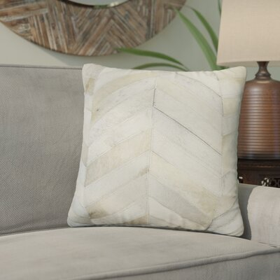 Graham Leather Throw Pillow Color: Natural/White