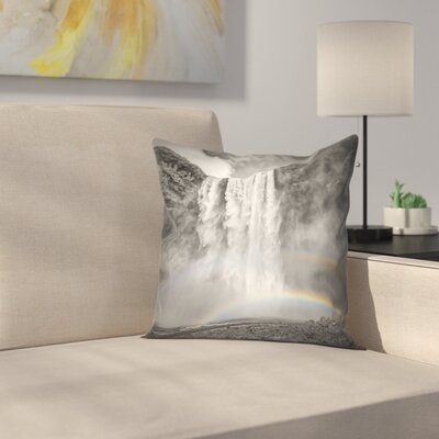Iceland Skogafoss Double Rainbow Throw Pillow Size: 14 x 14