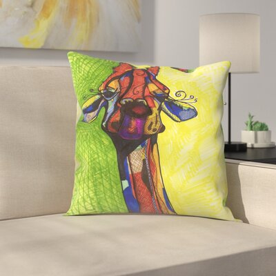 Giraffe Yellow Throw Pillow Size: 18 x 18