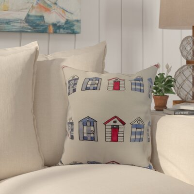 Bryson Beach Hut Throw Pillow Color: Ivory, Size: 16 x 16