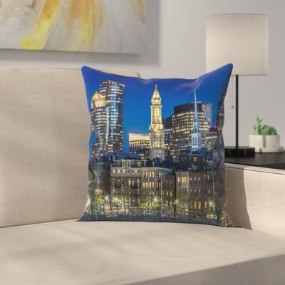 Boston Evening Skyline Of North End & Financial District Throw Pillow Size: 18 x 18