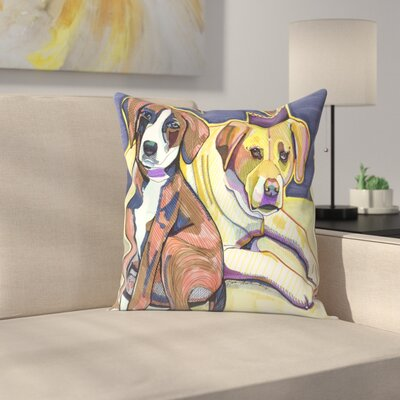 Two Dogs Throw Pillow Size: 14 x 14