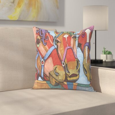3 Horses Lena & Joanna Throw Pillow Size: 16 x 16