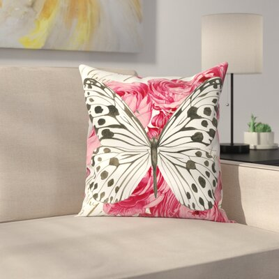 Butterfly Ranunculus Card Throw Pillow Size: 14 x 14