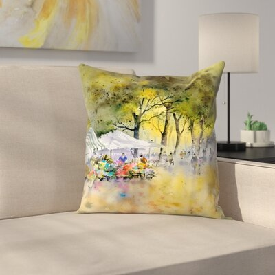Flower Market Throw Pillow Size: 18 x 18