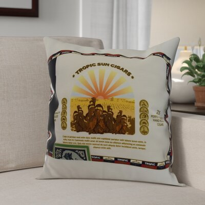 Gasaway Cigar Box Throw Pillow Color: Green, Size: 16 x 16