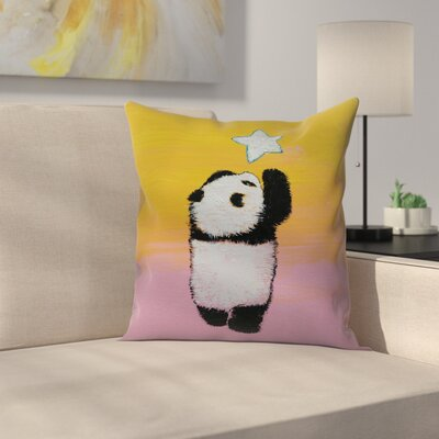 Panda Star Throw Pillow Size: 16 x 16
