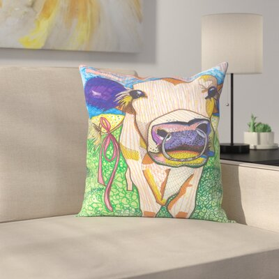 Sweet Cow with Ring Sigrid Throw Pillow Size: 20