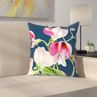 Navy Pink Flowers Throw Pillow Size: 16 x 16