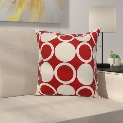 Meekins Small Modcircles Geometric Print Indoor/Outdoor Throw Pillow Color: Red, Size: 18 x 18