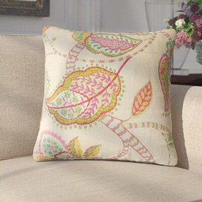 Gunnel Floral Linen Throw Pillow Color: Pink