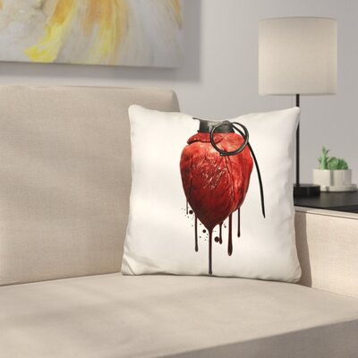 Heart Grenade Throw Pillow