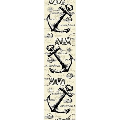 Dinan Cream/Black Area Rug Rug Size: Runner 2 x 8