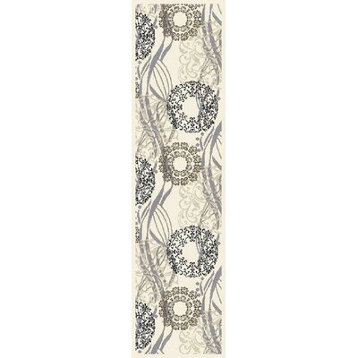 Ilbert Wool Cream/Gray Area Rug Rug Size: Runner 2 x 8
