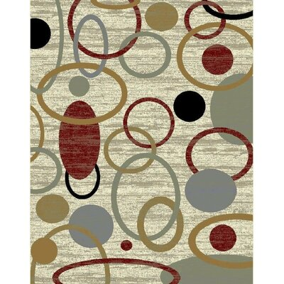Inispollan Cream/Green Area Rug Rug Size: Rectangle 5 x 8