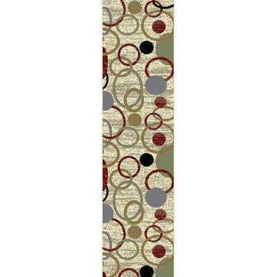 Inispollan Cream/Green Area Rug Rug Size: Runner 2 x 8