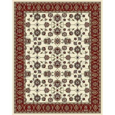 Falkner Ivory/Red Area Rug Rug Size: Rectangle 8' x 11'