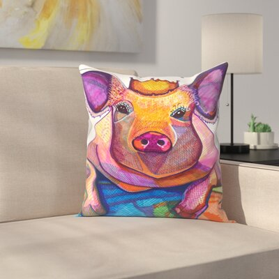 Pig with Crown Throw Pillow Size: 14 x 14