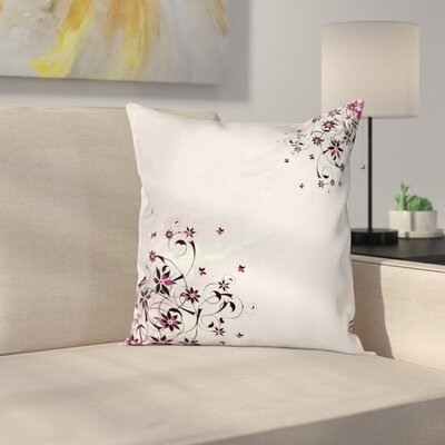 Grunge Flower Motif Leaf Cushion Pillow Cover Size: 16 x 16