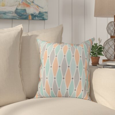 Boubacar Wavy Splash Geometric Print Outdoor Throw Pillow Size: 20 H x 20 W, Color: Aqua