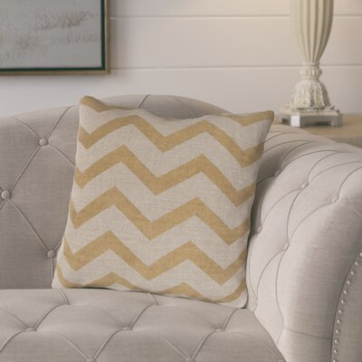 Elbert Wave Linen Throw Pillow Size: 18 H x 18 W x 4 D, Color: Gold / Beige, Filler: Down