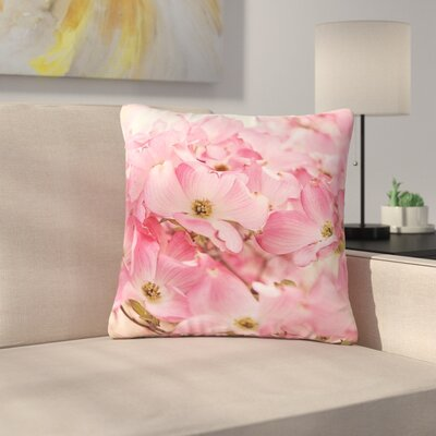 Sylvia Cook Dogwood Floral Photography Outdoor Throw Pillow Size: 18 H x 18 W x 5 D