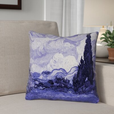 Meredosia Wheat Field with Cypresses Outdoor Throw Pillow Color: Blue, Size: 16 H x 16 W