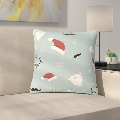 Louise Happy New Year! Christmas Santa Outdoor Throw Pillow Size: 18 H x 18 W x 5 D
