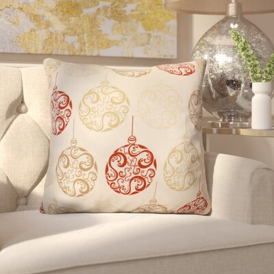 Decorative Holiday Geometric Print Outdoor Throw Pillow Size: 18 H x 18 W, Color: Red