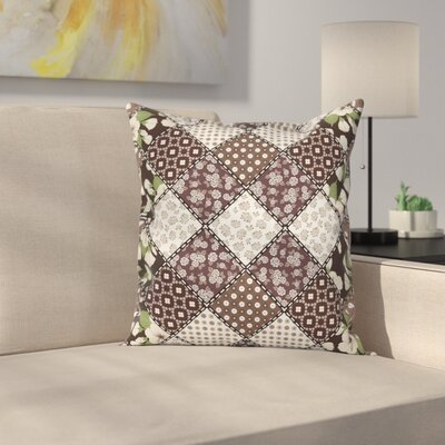 Floral Vintage Flowers Bridal Square Pillow Cover Size: 20 x 20