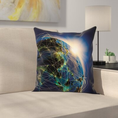Vivid Globe Space Network Square Pillow Cover Size: 16 x 16