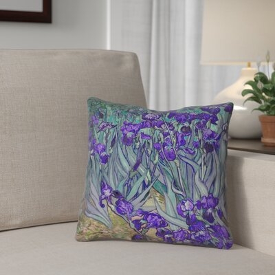 Morley Irises Square Throw Pillow Size: 16 x 16, Color: Purple