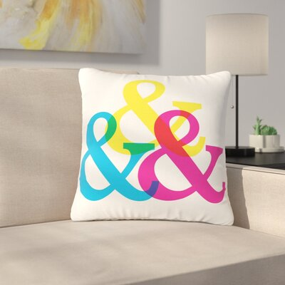Jackie Rose CYMK Ampersands Colorful Outdoor Throw Pillow Size: 16 H x 16 W x 5 D