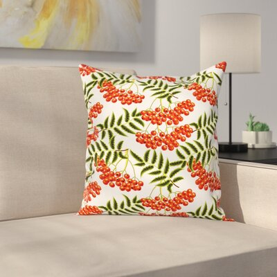 Vibrant Rural Berries Square Pillow Cover Size: 18 x 18