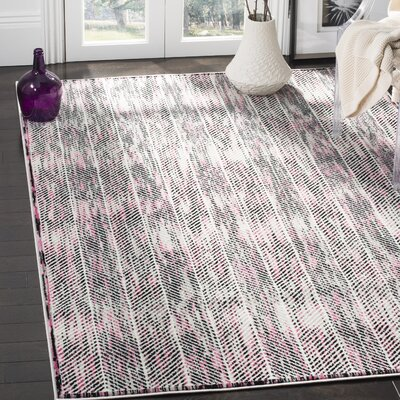 Coggin Gray/Pink Area Rug Rug Size: Rectangle 51 x 76