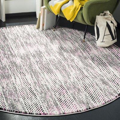 Coggin Gray/Pink Area Rug Rug Size: Round 67