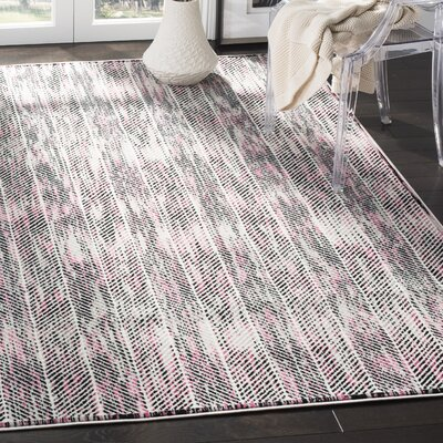 Coggin Gray/Pink Area Rug Rug Size: Rectangle 9 x 12