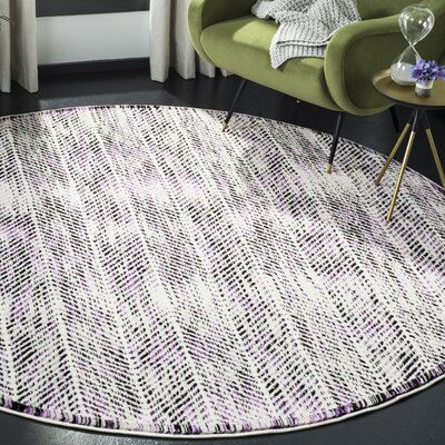 Coggin Gray/Purple Area Rug Rug Size: Round 67