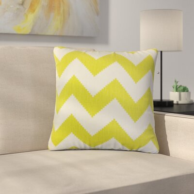 Svendsen Zigzag Linen Throw Pillow Color: Lime Green