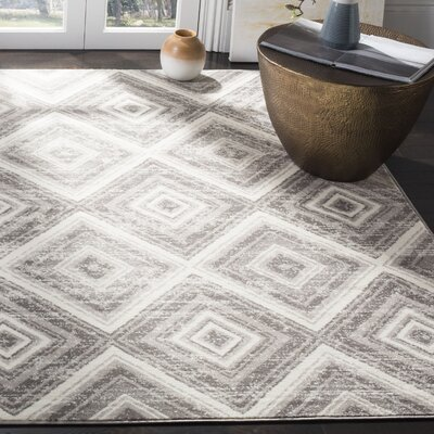 Coghill Gray/Ivory Area Rug Rug Size: Rectangle 8 x 10