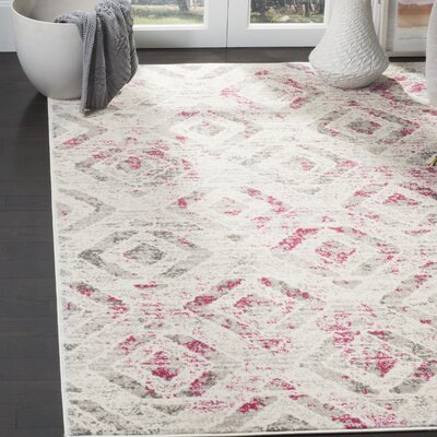 Cohan Ivory/Pink Area Rug Rug Size: Rectangle 51 x 76