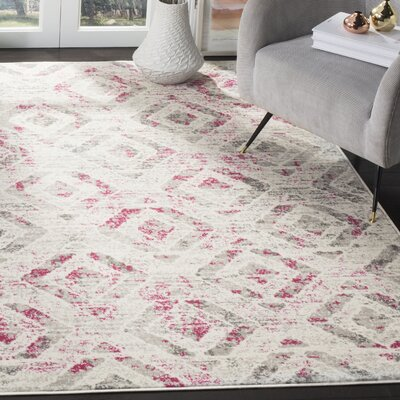 Cohan Ivory/Pink Area Rug Rug Size: Rectangle 9 x 12