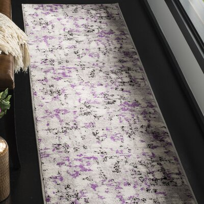 Cohen Ivory/Purple Area Rug Rug Size: Runner 2 x 8