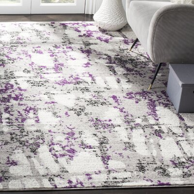 Cohen Ivory/Purple Area Rug Rug Size: Rectangle 51 X 76