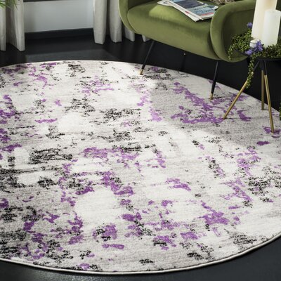 Cohen Ivory/Purple Area Rug Rug Size: Round 67