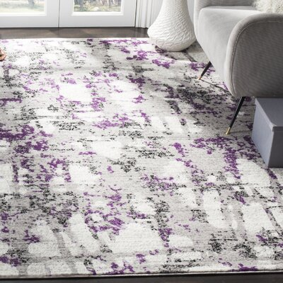 Cohen Ivory/Purple Area Rug Rug Size: Rectangle 8 X 10