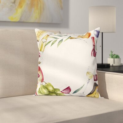 Wine Watercolor Food Wine Frame Square Pillow Cover Size: 18 x 18